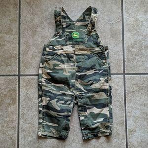 Baby JOHN DEERE green camo overalls sz 6/9 mos